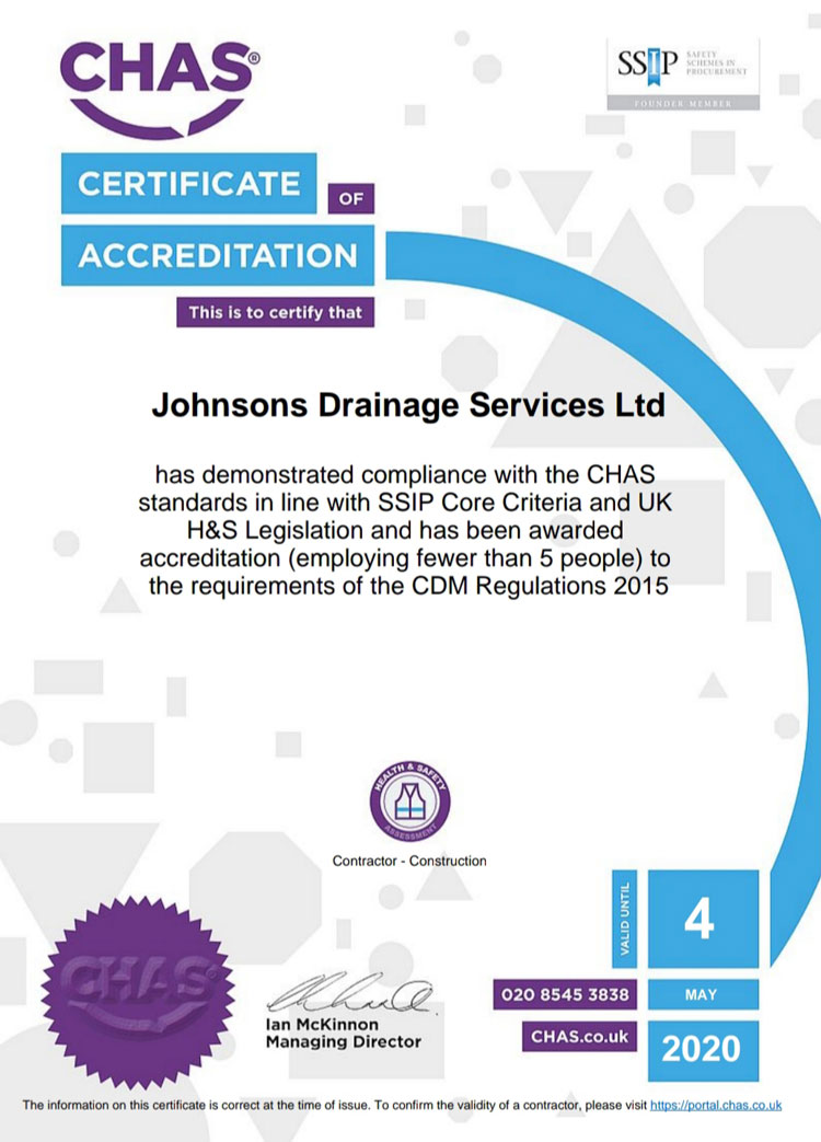 Image of our CHAS Certificate